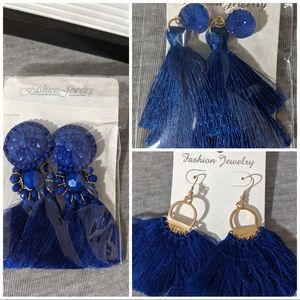 Lot of 3 blue tassel earrings